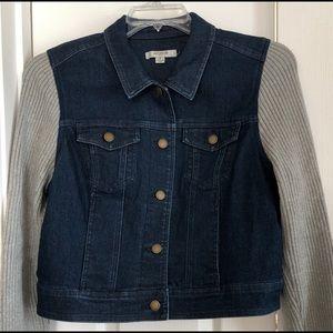 Denim Jacket with ribbed sleeves